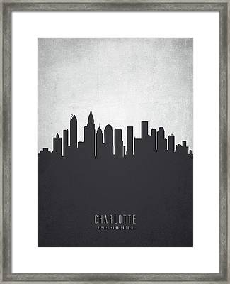Charlotte North Carolina Cityscape 19 Framed Print by Aged Pixel