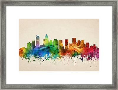 Charlotte North Carolina Skyline 05 Framed Print