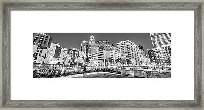 Charlotte Panorama Black And White Image Framed Print