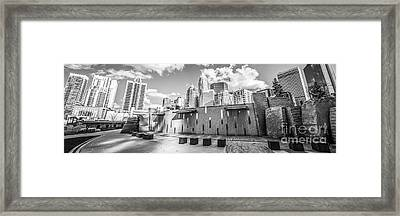 Charlotte Panorama Black And White Photo Framed Print by Paul Velgos