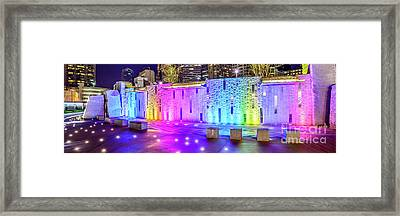 Charlotte Romare Bearden Park Waterfall Wall Panorama Photo Framed Print by Paul Velgos