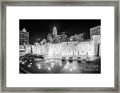 Charlotte Skyline At Night Black And White Photo Framed Print by Paul Velgos