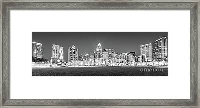 Charlotte Skyline At Night Panorama In Black And White Framed Print