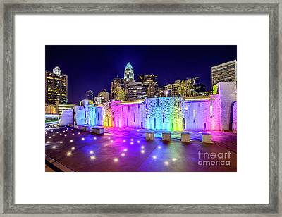 Charlotte Skyline At Night With Romare Bearden Park Framed Print by Paul Velgos