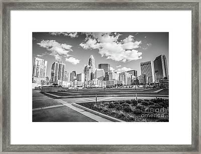 Charlotte Skyline Black And White Image Framed Print by Paul Velgos