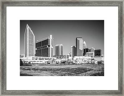 Charlotte Skyline Black And White Picture Framed Print by Paul Velgos