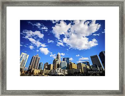 Charlotte Skyline Blue Sky And Clouds Framed Print by Paul Velgos