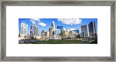 Charlotte Skyline Panorama At Romare Bearden Park Framed Print by Paul Velgos