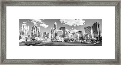 Charlotte Skyline Panorama Black And White Image Framed Print by Paul Velgos