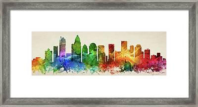 Charlotte Skyline Panorama Usncch-pa03 Framed Print