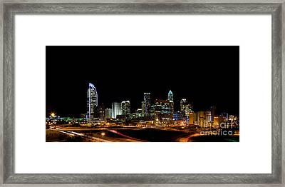 Charlotte Skyline Panoramic Framed Print by Patrick Schneider