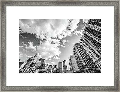 Charlotte Skyline Wide Angle Black And White Photo Framed Print by Paul Velgos