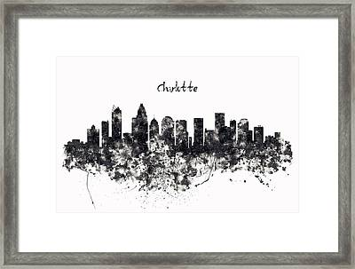 Charlotte Watercolor Skyline Black And White Framed Print by Marian Voicu
