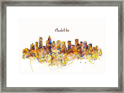 Charlotte Watercolor Skyline Framed Print by Marian Voicu