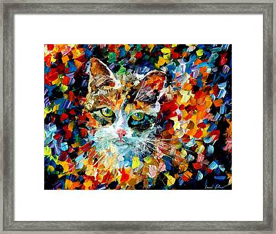 Charming Cat Framed Print by Leonid Afremov