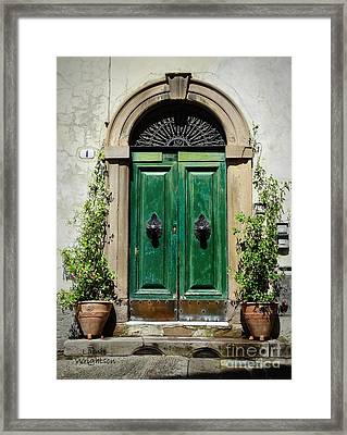 Charming Green Door In Lucca Framed Print