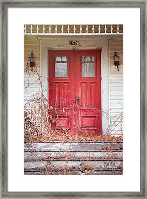 Framed Print featuring the photograph Charming Old Red Doors Portrait by Gary Heller