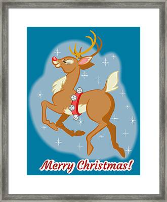Framed Print featuring the digital art Charming Retro Reindeer by J L Meadows