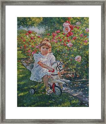 Charming Rider In Pink And Red Roses Framed Print