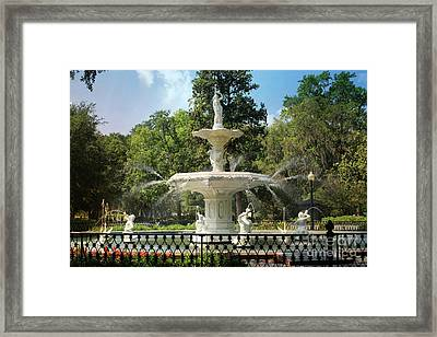 Charming Savannah Fountain Framed Print by Carol Groenen
