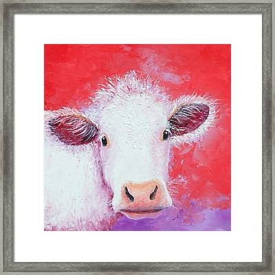 Charolais Cow Painting Framed Print