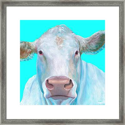 Charolais Cow Painting On Blue Background Framed Print by Jan Matson
