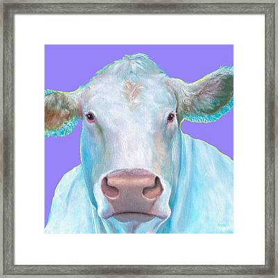 Charolais Cow Painting On Purple Background Framed Print by Jan Matson