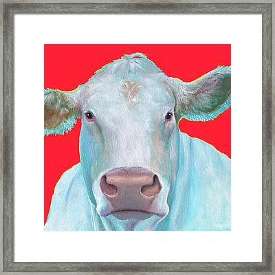 Charolais Cow Painting On Red Background Framed Print