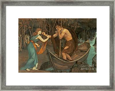 Charon And Psyche Framed Print by John Roddam Spencer Stanhope
