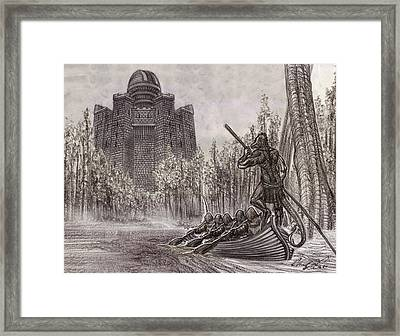 Charon Conveys The Party To Fate Black And White Framed Print
