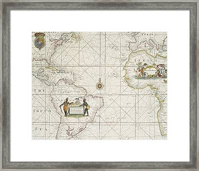 Chart Of The Atlantic Ocean Framed Print by English School