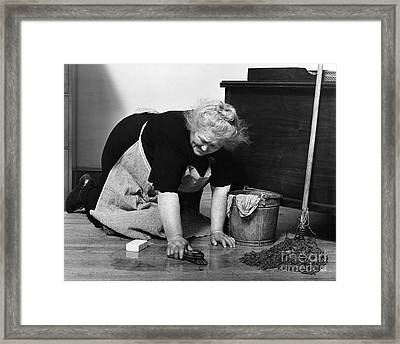 Charwoman Scrubbing Floor, C.1930s Framed Print by H. Armstrong Roberts/ClassicStock