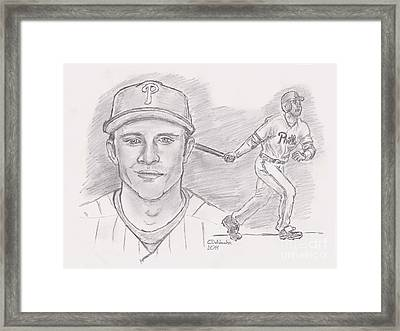 Chase Utley  Framed Print by Chris  DelVecchio
