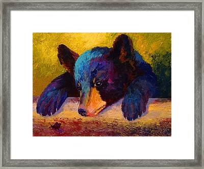 Chasing Bugs - Black Bear Cub Framed Print by Marion Rose