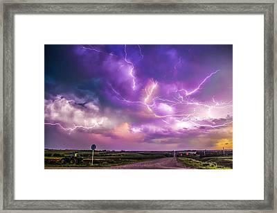 Chasing Nebraska Lightning 056 Framed Print