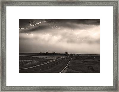 Chasing The Storm - County Rd 95 And Highway 52 - Co- Sepia Framed Print by James BO  Insogna