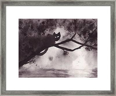 Framed Print featuring the painting Chat Dans L'arbre by Marc Philippe Joly