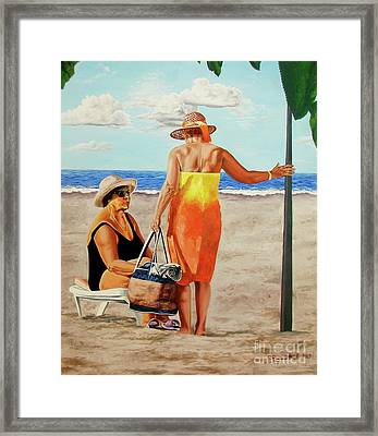 Chat On The Beach - Chat En La Playa Framed Print