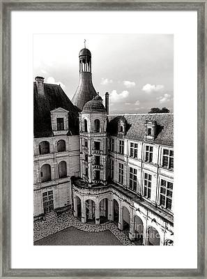 Chateau De Chambord Courtyard And Staircase  Framed Print