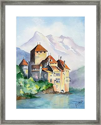 Chateau De Chillon In Switzerland Framed Print by Jean White