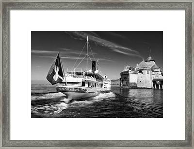 Chateau De Chillon, Steamboat Framed Print by Jeremy Voisey