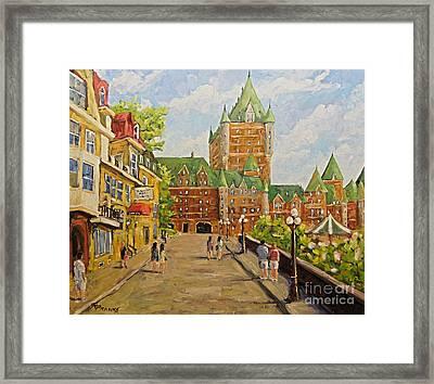 Chateau Frontenac Promenade Quebec City By Prankearts Framed Print by Richard T Pranke