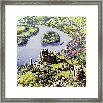 Chateau Gaillard, Also Known As The New Castle Of The Rock  Framed Print by Pat Nicolle
