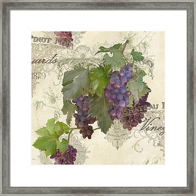 Chateau Pinot Noir Vineyards - Vintage Style Framed Print by Audrey Jeanne Roberts