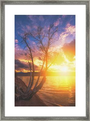 Framed Print featuring the photograph Chatfield Lake Sunset by Darren White