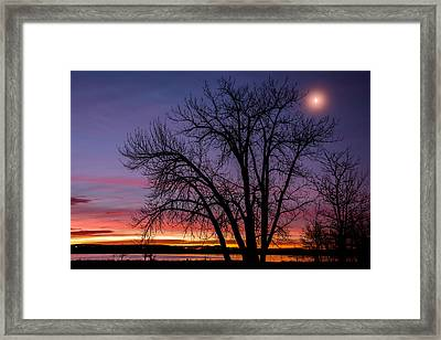 Chatfield Moon At Sunrise Framed Print by Darren  White
