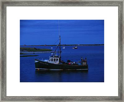 Chatham Pier Fisherman Boat  Framed Print