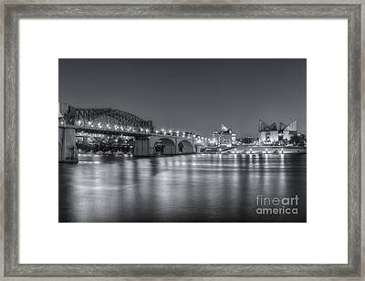 Chattanooga Market Street Bridge At Twilight II Framed Print by Clarence Holmes