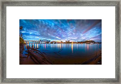 Chattanooga Riverfront At Dawn  Framed Print by Steven Llorca