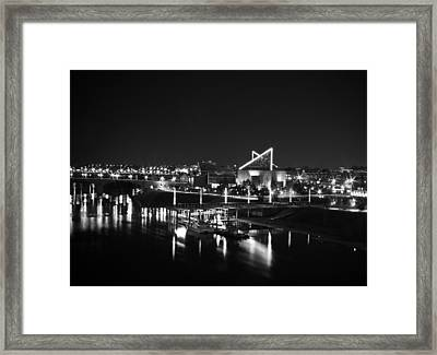 Chattanooga Riverwalk Night Black And White Framed Print by Larry Underwood